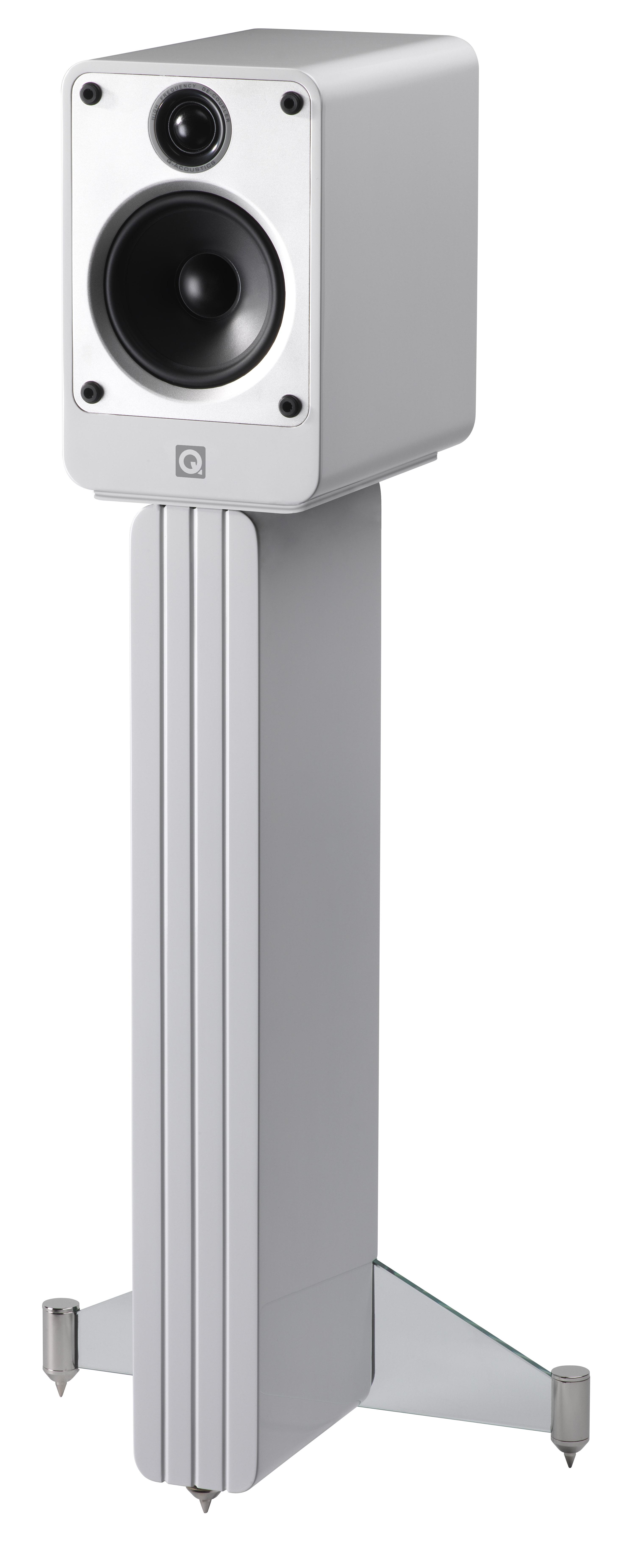 Q Acoustics Concept 20 Bookshelf Speaker Gloss White With Stand